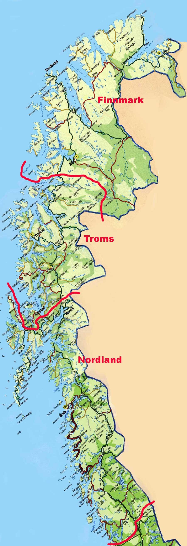 Nordlandslag Map Of North Norway